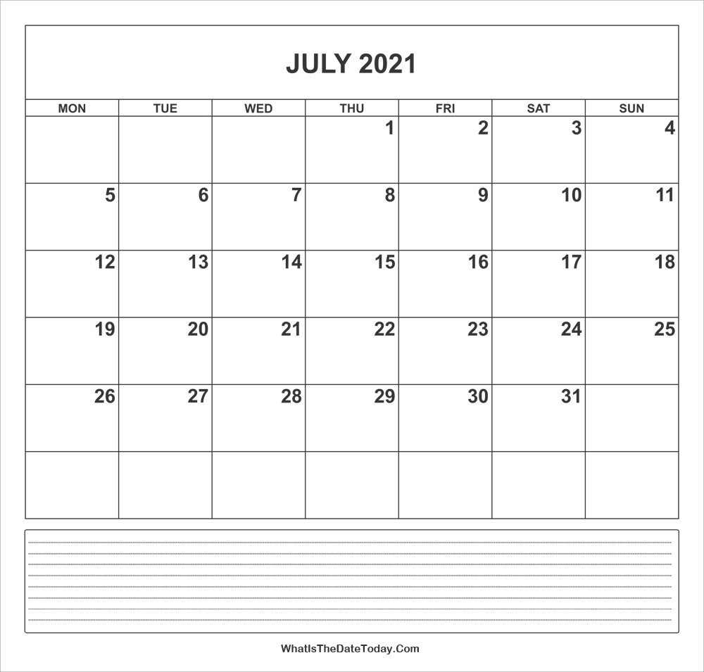 calendar july 2021 with notes