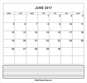 calendar june 2017 with notes
