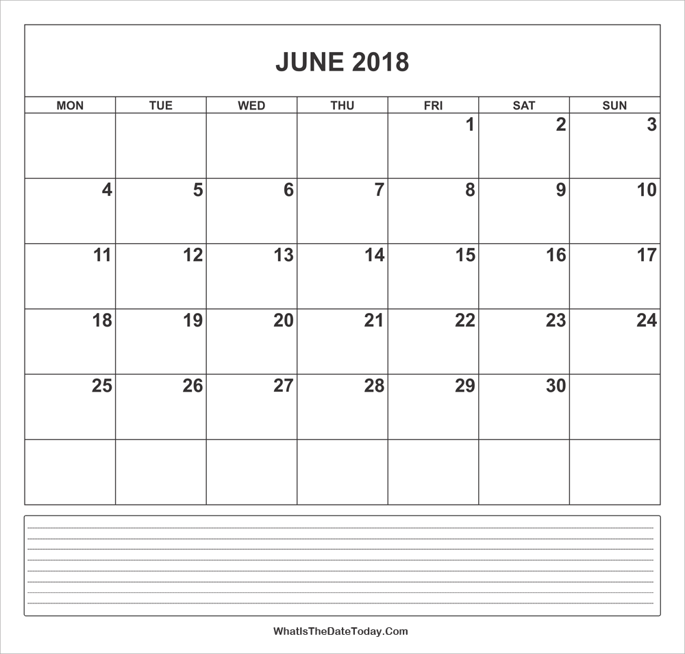 calendar june 2018 with notes