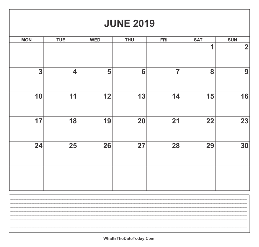 calendar june 2019 with notes