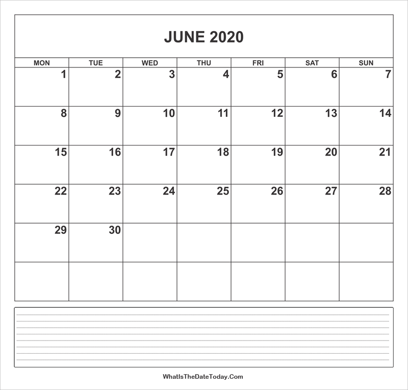 calendar june 2020 with notes
