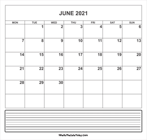 calendar june 2021 with notes