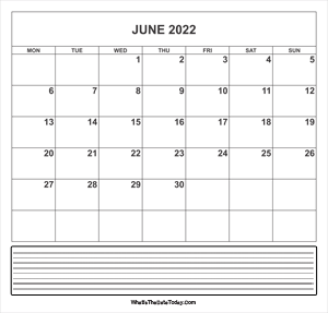 calendar june 2022 with notes