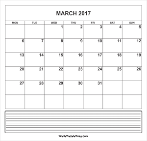 calendar march 2017 with notes
