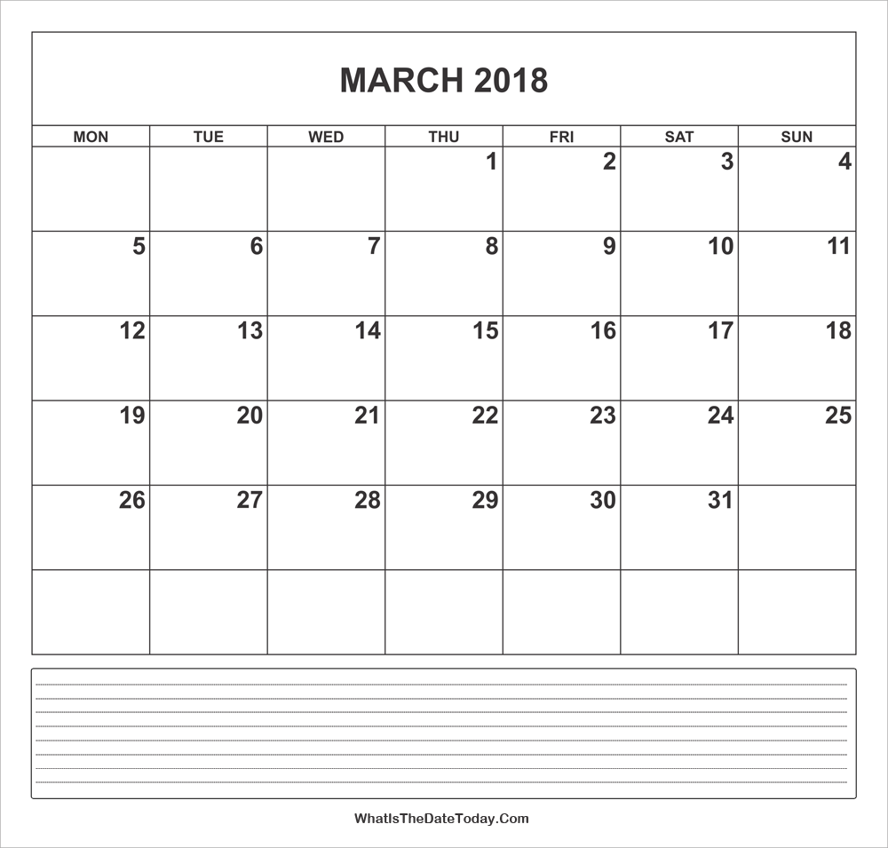 calendar march 2018 with notes
