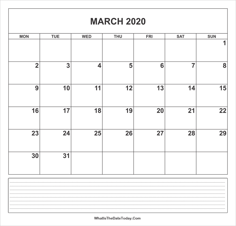 calendar march 2020 with notes