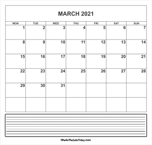 calendar march 2021 with notes