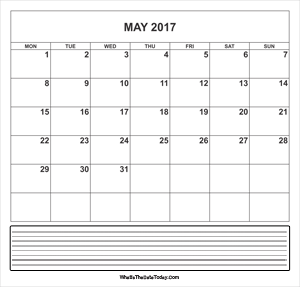 calendar may 2017 with notes