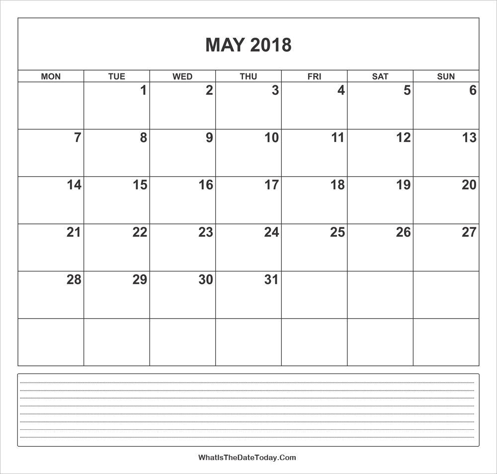 calendar may 2018 with notes