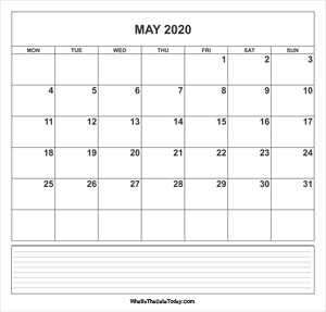 calendar may 2020 with notes