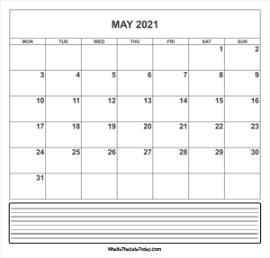 calendar may 2021 with notes