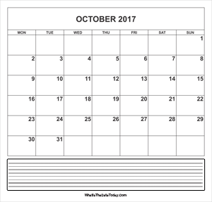 calendar october 2017 with notes