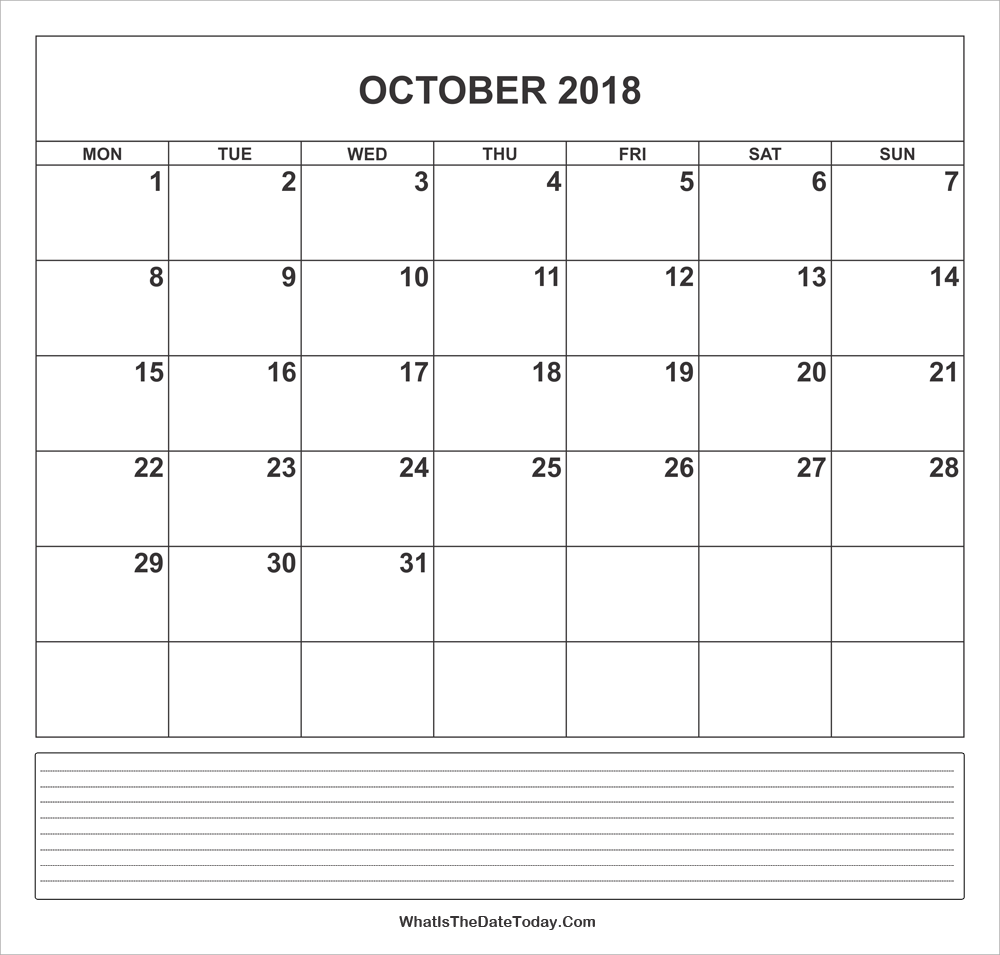 calendar october 2018 with notes