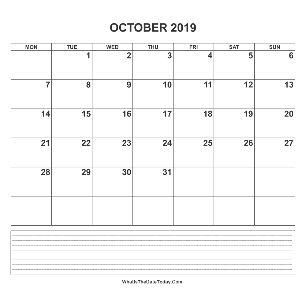 calendar october 2019 with notes