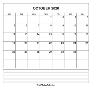 calendar october 2020 with notes