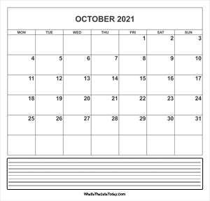 calendar october 2021 with notes