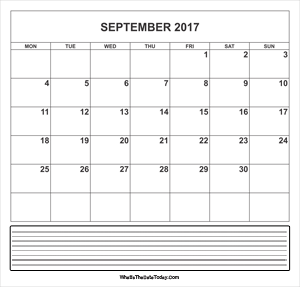 calendar september 2017 with notes
