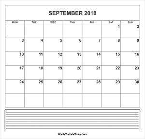 calendar september 2018 with notes