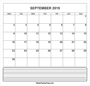 calendar september 2019 with notes
