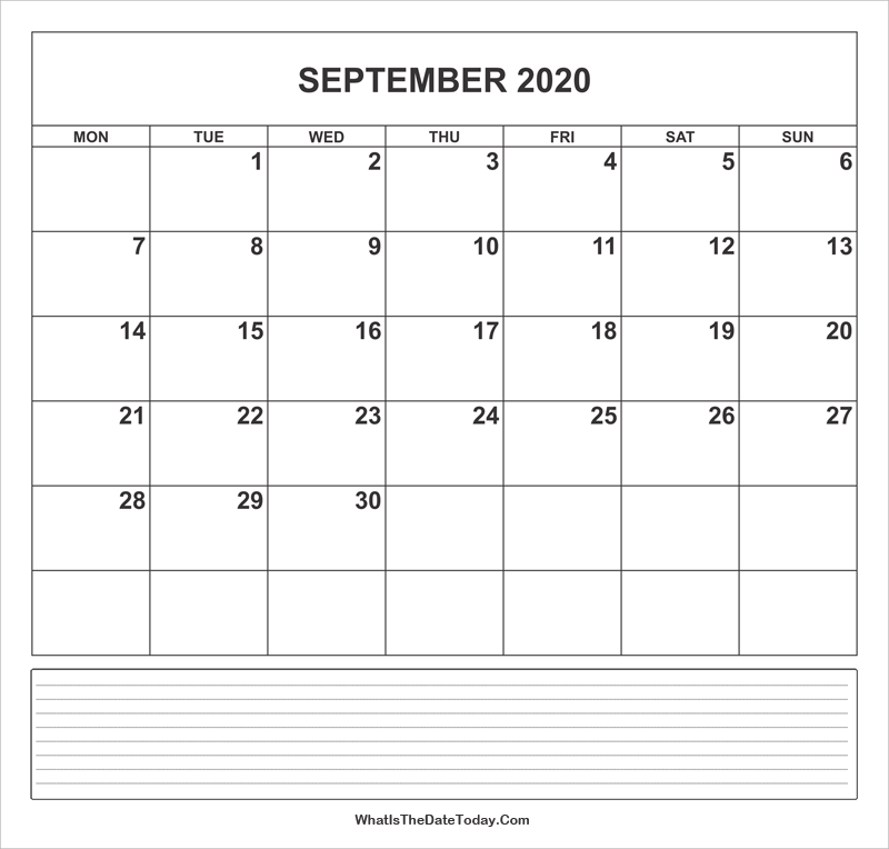 calendar september 2020 with notes