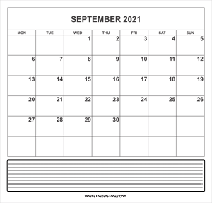 calendar september 2021 with notes