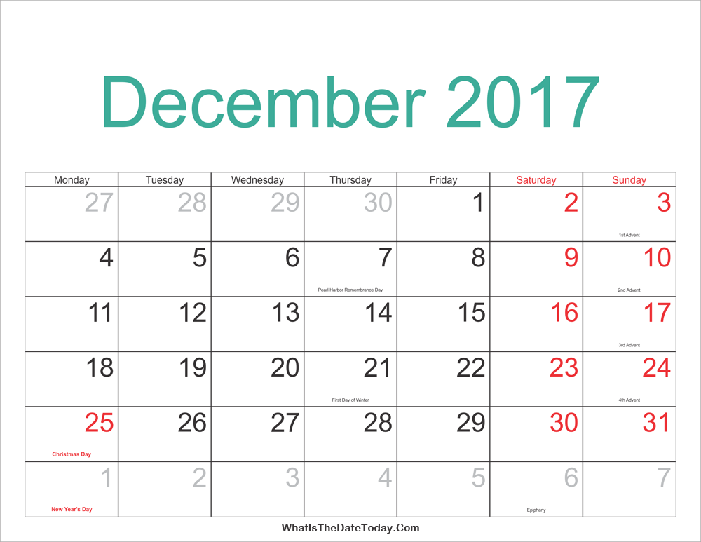 December 2017 Calendar Printable With Holidays Whatisthedatetoday