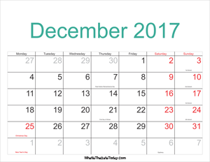 december 2017 calendar printable with holidays