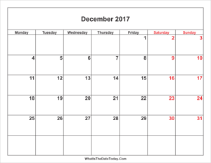 december 2017 calendar with weekend highlight