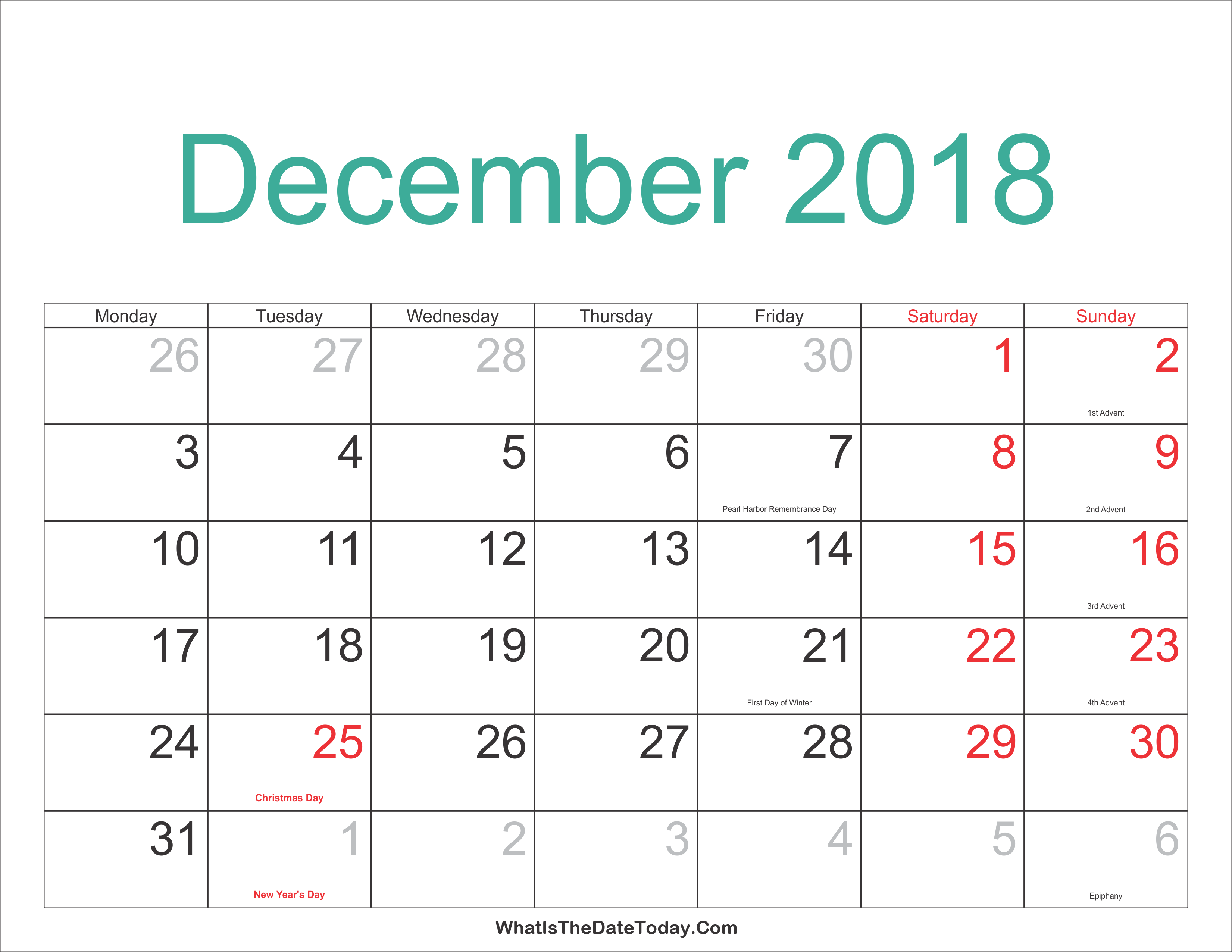 dec 2018 calendar printable