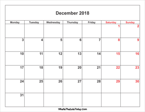 december 2018 calendar with weekend highlight