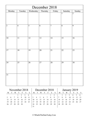 december 2018 editable calendar (vertical) with three mini months