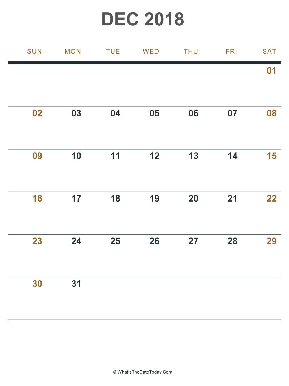 image relating to Dec Printable Calendar named December 2018 Printable Calendar (Portrait Design and style