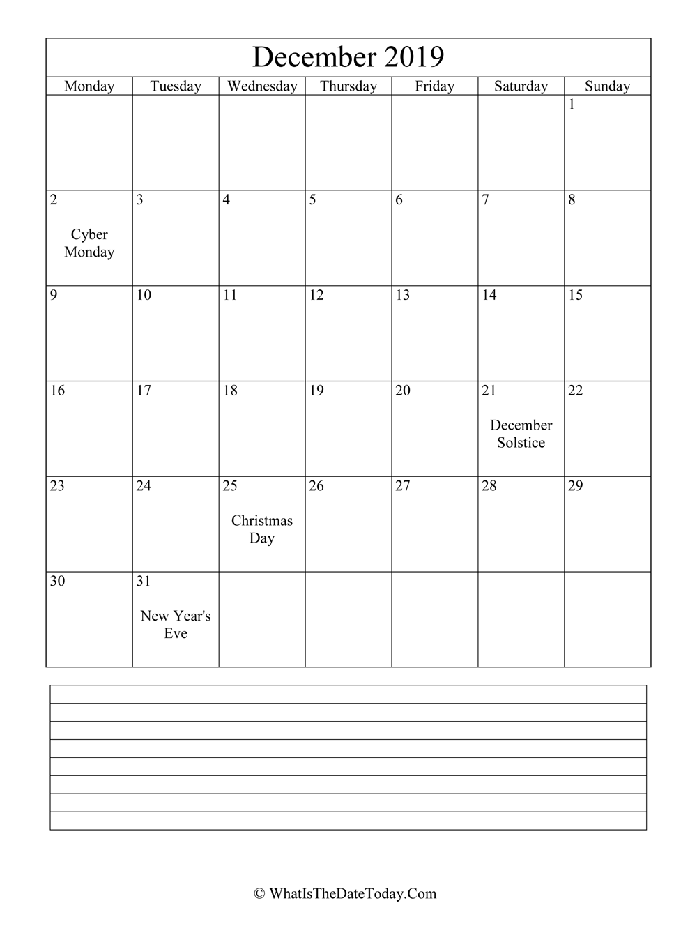 december 2019 calendar editable with notes in vertical layout