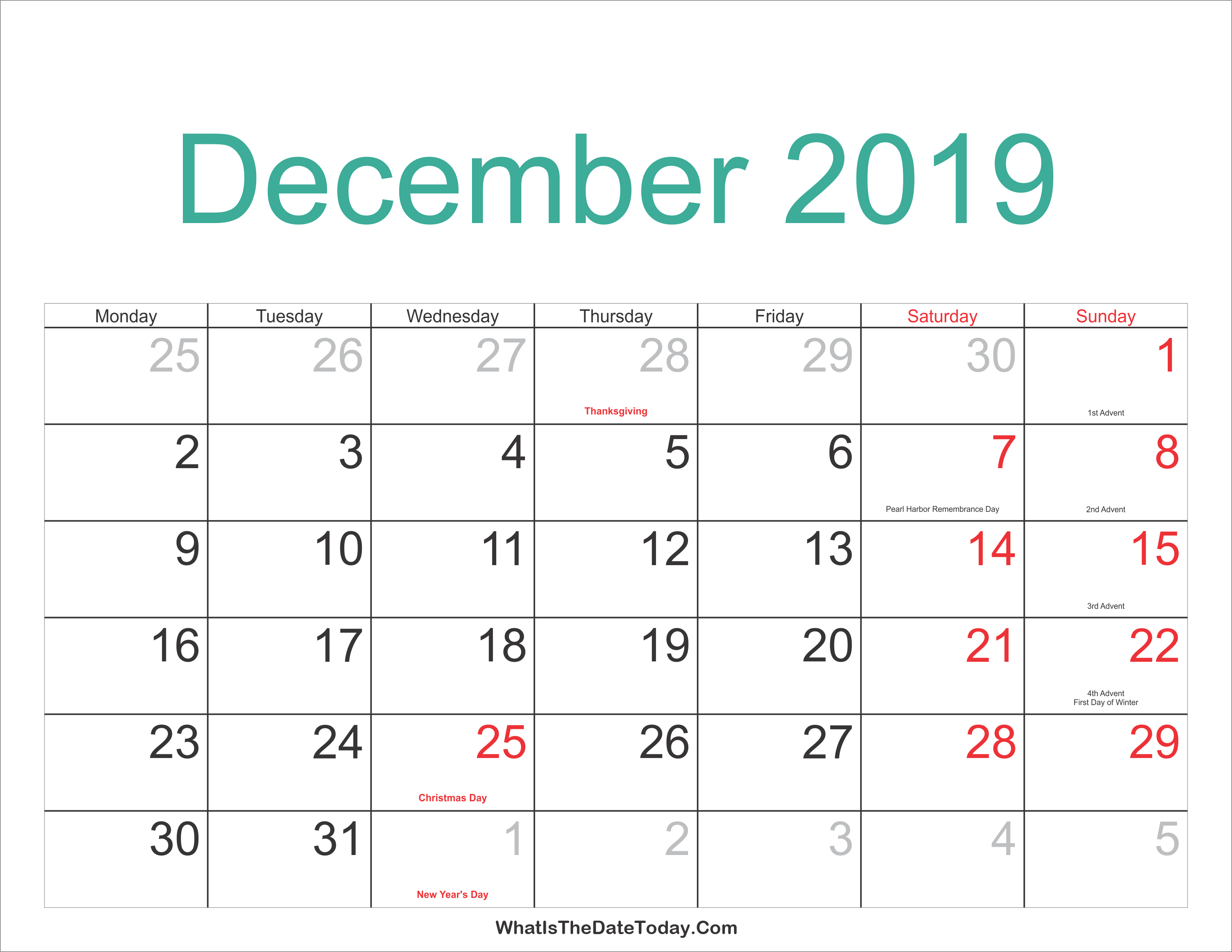 December 2019 Calendar Printable With Holidays Whatisthedatetoday Com