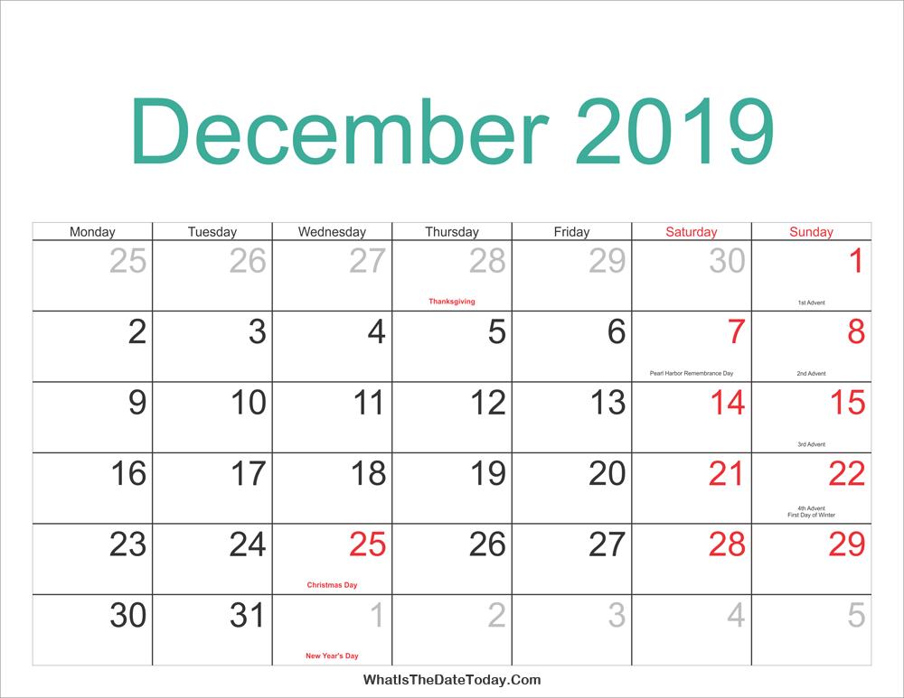 Calendar Of Holidays December 2019 December 2019 Calendar Printable with Holidays