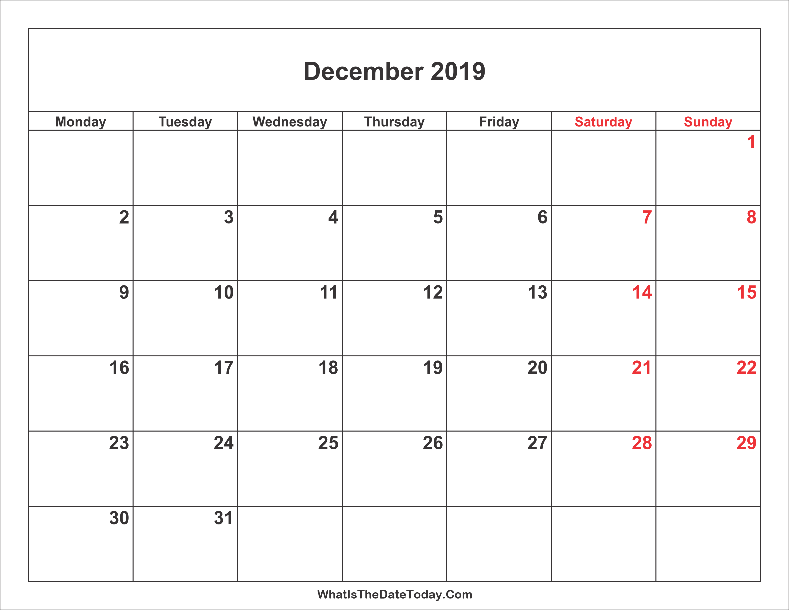 December Hebrew Calendar 2019 December 2019 Calendar with Weekend Highlight | Whatisthedatetoday.Com