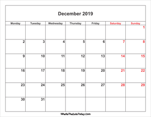 december 2019 calendar with weekend highlight