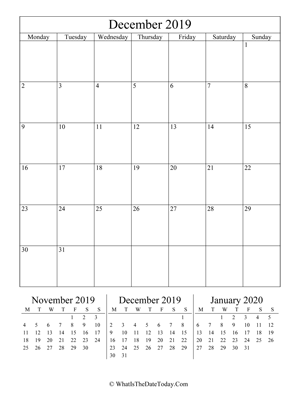 december 2019 editable calendar (vertical) with three mini months