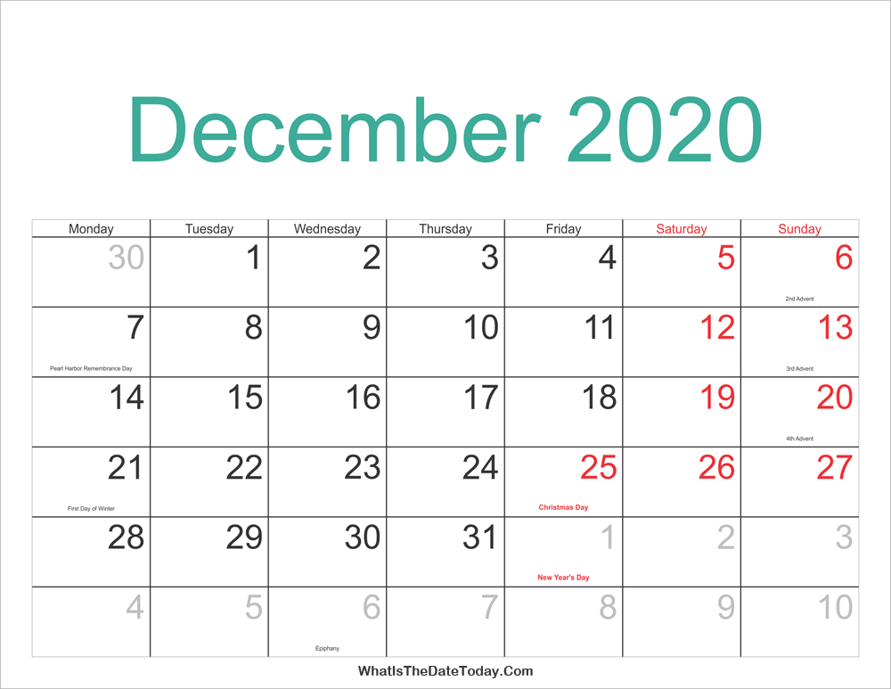 December 2020 Christmas December 2020 Calendar Printable with Holidays