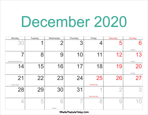 December 2020 Calendar Templates Whatisthedatetoday Com