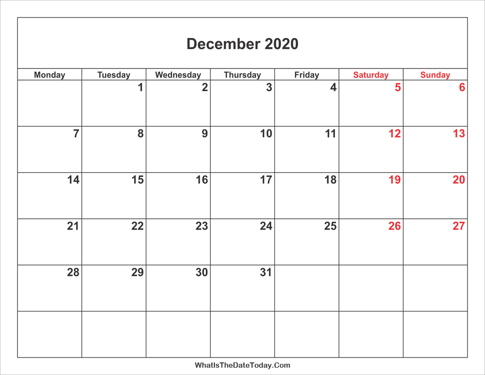 December 2020 Calendar With Weekend Highlight Whatisthedatetoday Com