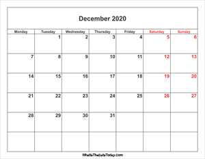 december 2020 calendar with weekend highlight