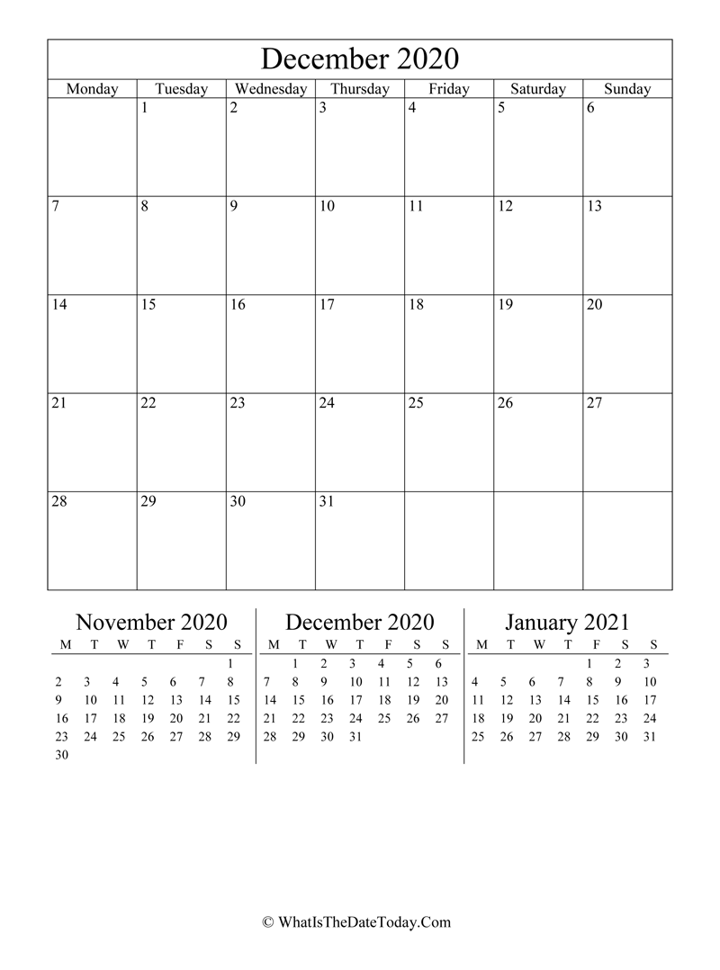 December 2020 Editable Calendar Vertical Layout