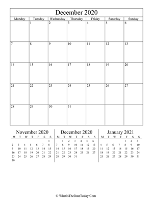 december 2020 editable calendar (vertical) with three mini months