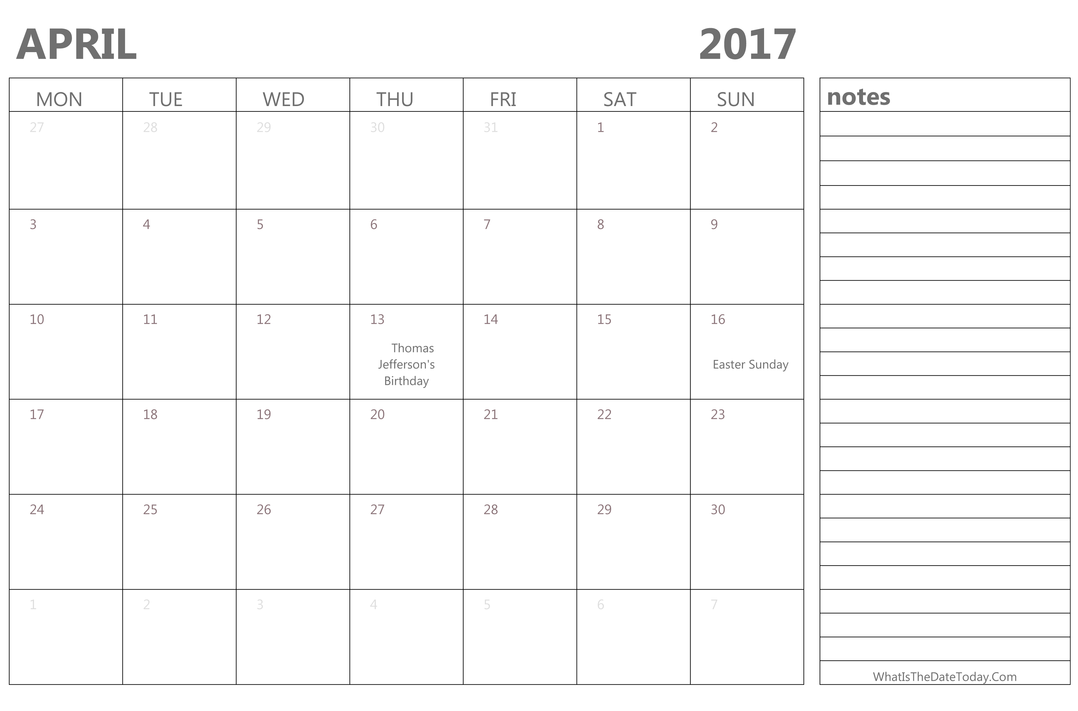 Editable April 2017 Calendar with Holidays and Notes ...