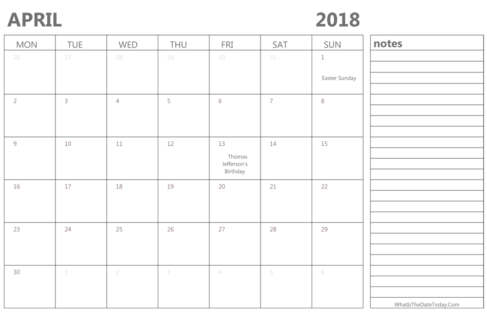 editable april 2018 calendar with holidays and notes