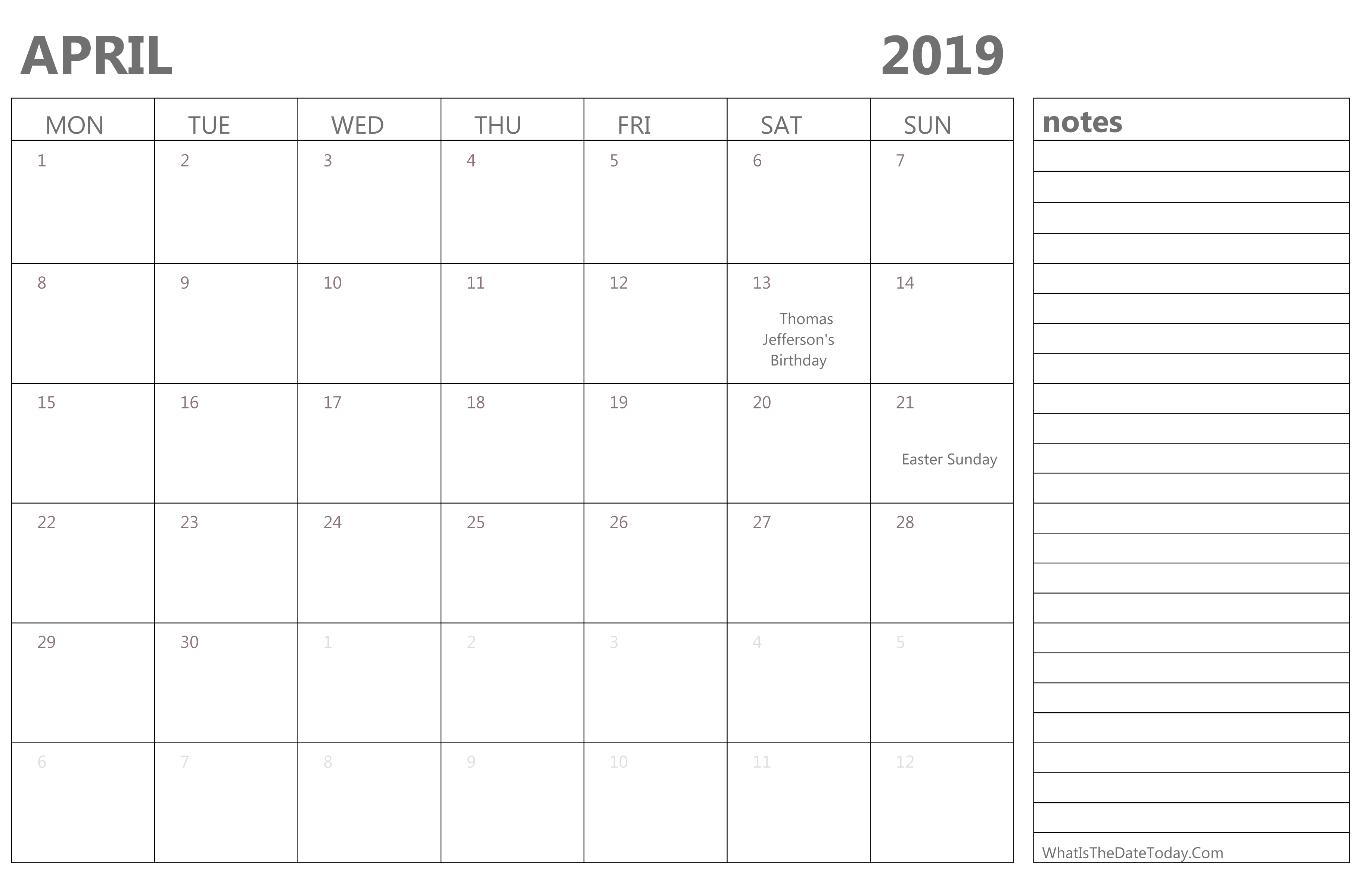 Editable April 2019 Calendar With Holidays And Notes