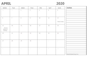 editable april 2020 calendar with holidays and notes