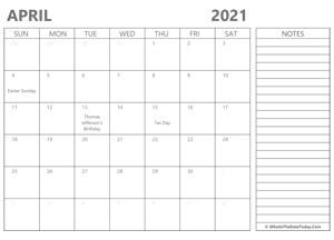 editable april 2021 calendar with holidays and notes
