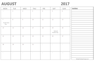 editable august 2017 calendar with holidays and notes